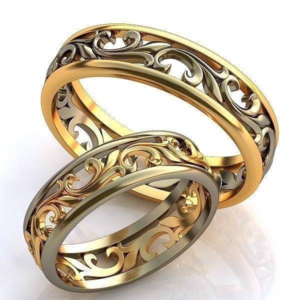 Парные золотые обручальные кольца   AOG-obr-255 466bb545a06