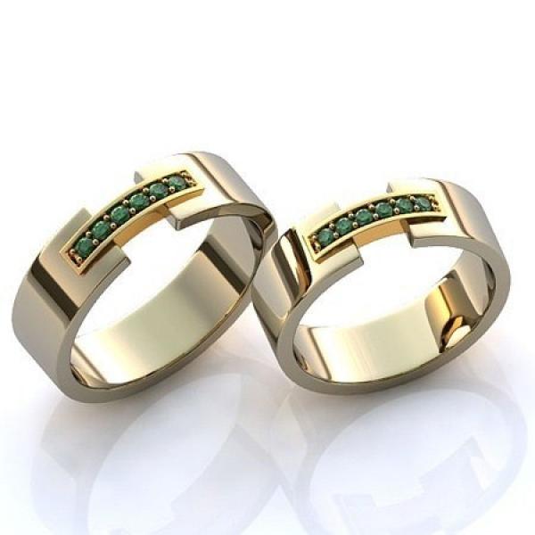 53e6fbb760c1 Золотое обручальное кольцо с изумрудами   R-KO-1049