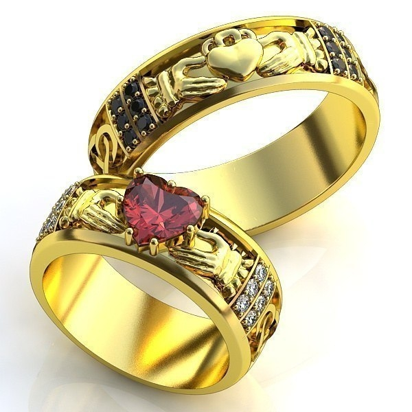 обручальное кольцо с рубином