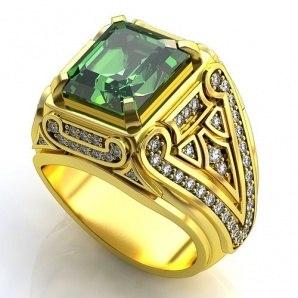 Мужское кольцо, печатка с крупным